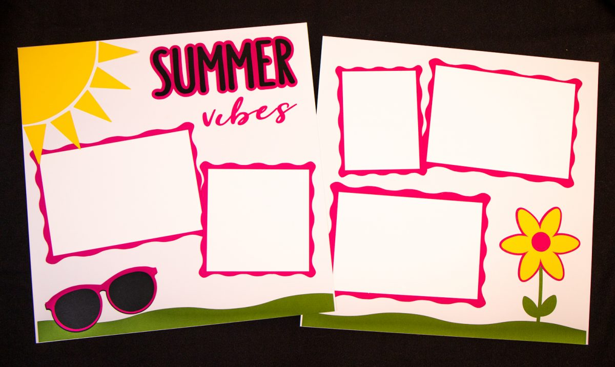 Summer Vibes Scrapbook Layout with Sun, Sunglasses and Flower