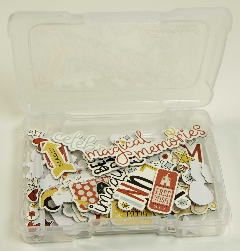 4x6 Photo and Supply Case filled with Disney themed chipboard pieces