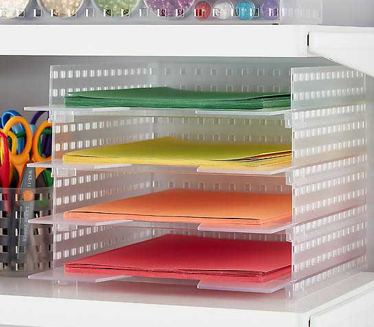 8 1/2 x 11 front loading paper trays stacked, each one with a different color of paper