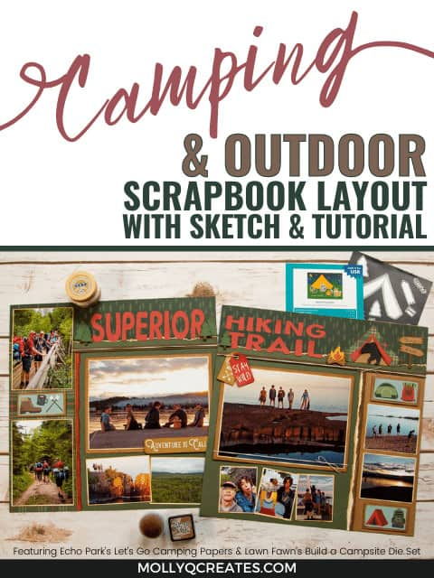 Scrapbook layout with pictures of Boy Scouts having fun and hiking in Northern Minnesota