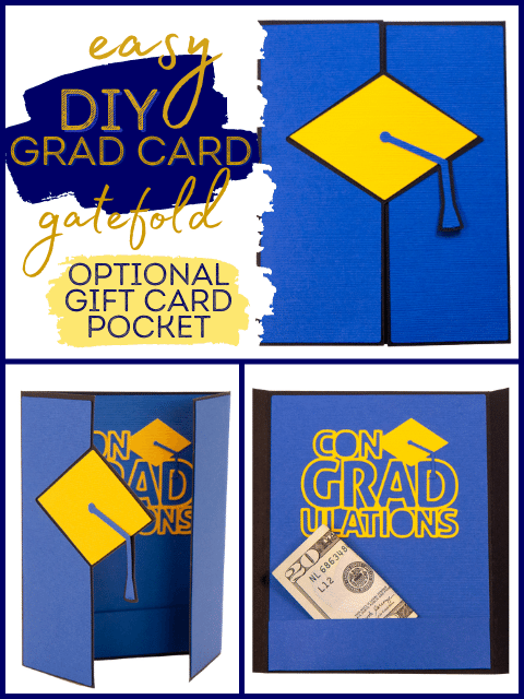 Grad Card with Gatefold, 3 images, card outside, card open and card with money in pocket