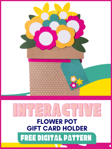 Paper flowers in pot interactive gift card holder