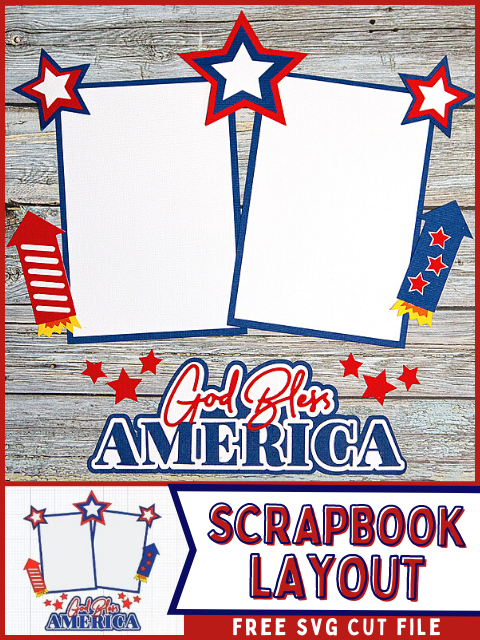 Scrapbook layout with weathered wood background, red, white and blue cardstock pieces and God Bless America title