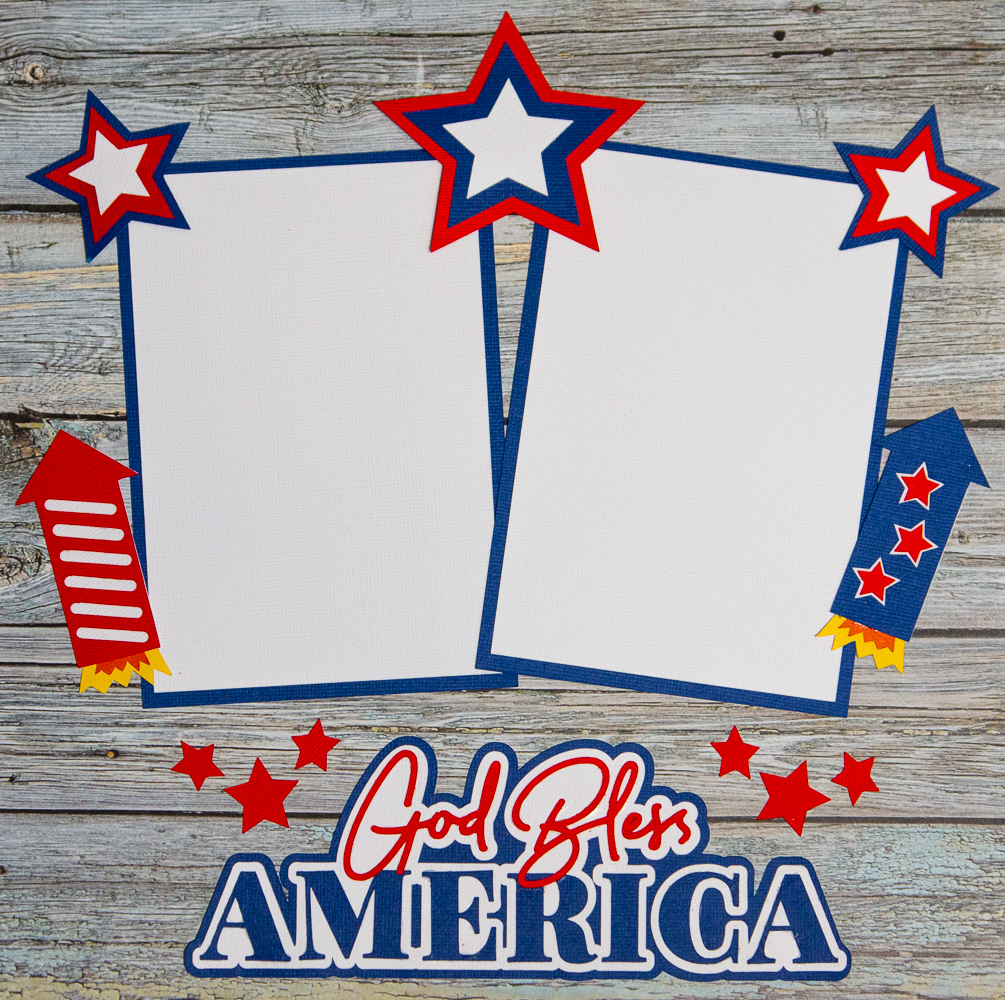 God Bless America title on a wood grained patterned paper with red white and blue stars and rockets