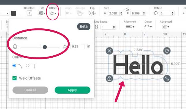 Offset feature highlighted and Hello with shadow