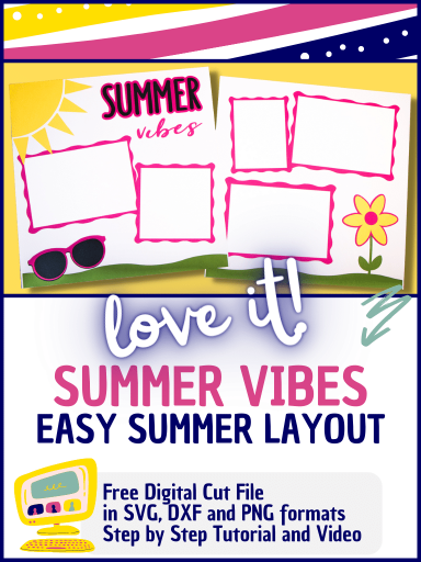 Scrapbook layout with sun, sunglasses and flower