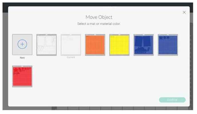 Move object screen with 7 cutting mats and option for a new one