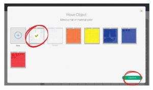 Move Object screen shows the 7 cutting mats with a checkmark on the white mat and the word confirm circled